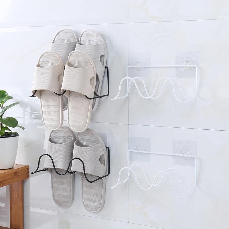 Iron Art Shoe Rack Bathroom Slipper Rack Double Layer Creative Adhesive Storage Shelf Jian Yi Wall Hanging Shoe Storage Rack