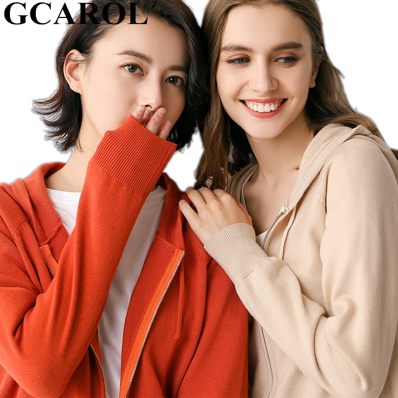 GCAROL New Women 30% Wool Pure Hooded Leisure Stretch Zip Up Short Knitted Cardigan Fall Winter Warmness Render Knit Tops Jacket