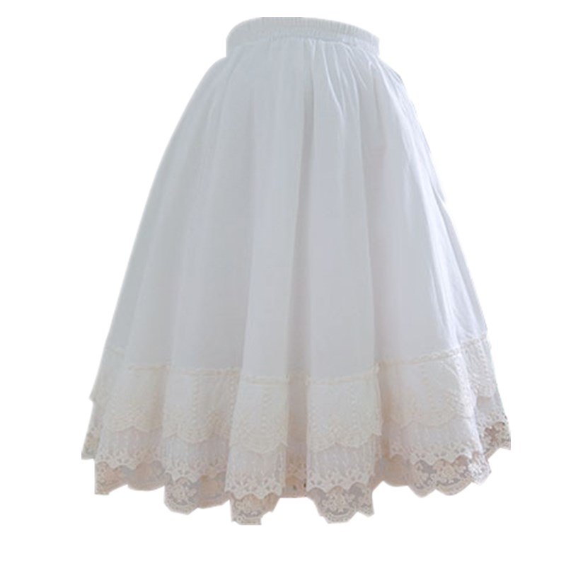 Japanese Retro Women Long Skirt Mori Girl Sweet Vintage Lace Lolita Pleated Underskirt Petticoat Floral White Midi Tutu Skirts