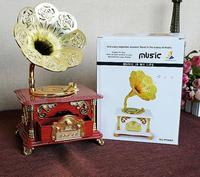 Retro Carved Telephone Model Music Box , Vintage phonograph Props Home Decoration Vintage Ornament SM126