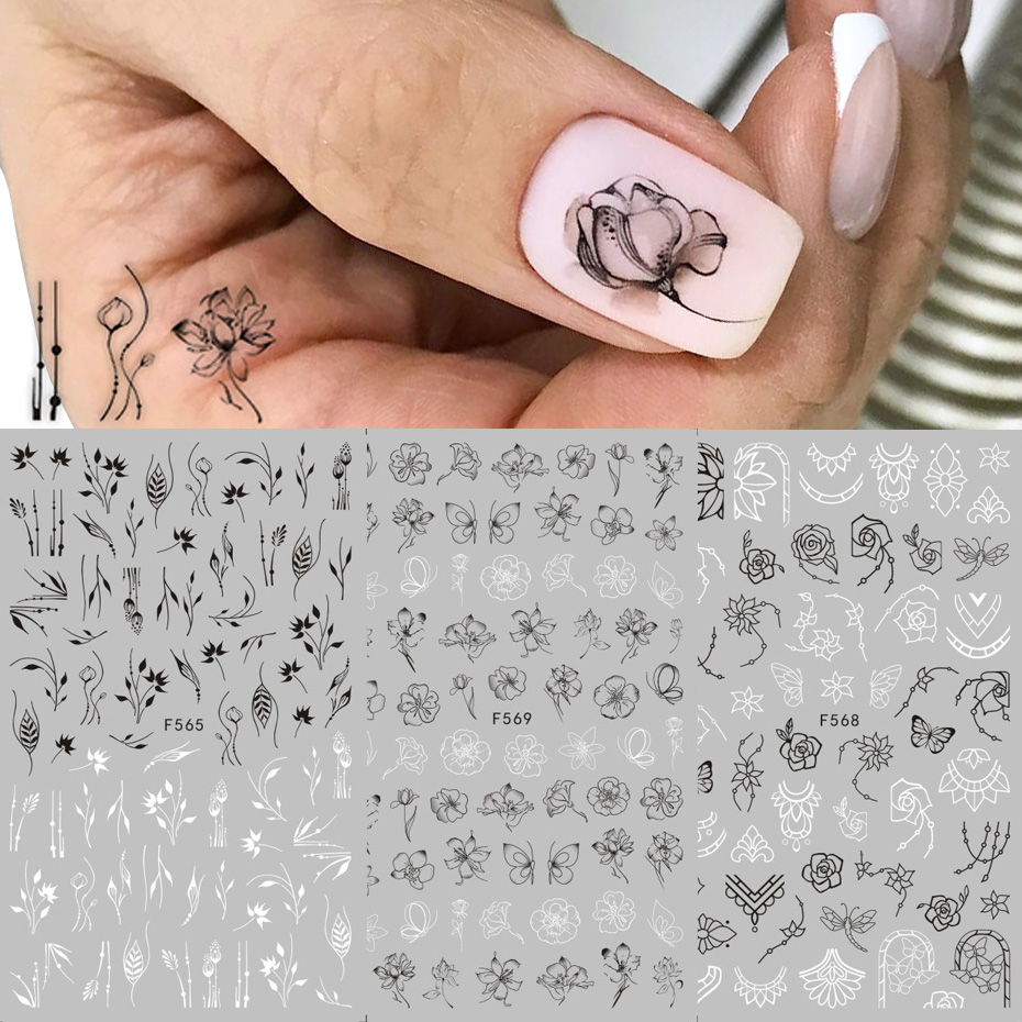 1pcs Black White 3D Nail Art Stickers Sliders Flowers Mandala Leaf Geometry Adhesive Nail Decals Foil Design Manicure TRF564-573