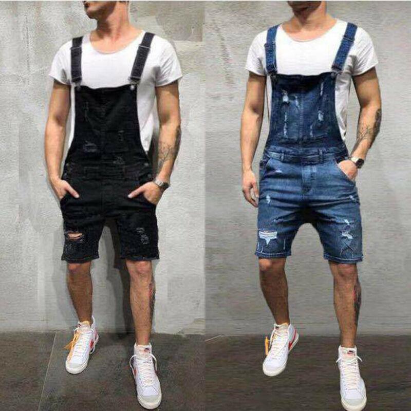Men's Denim Bib Overalls Fashion Ripped Jeans Slim Playsuit With Pockets Men's Slim Washed Denim Suspender Overalls Shorts