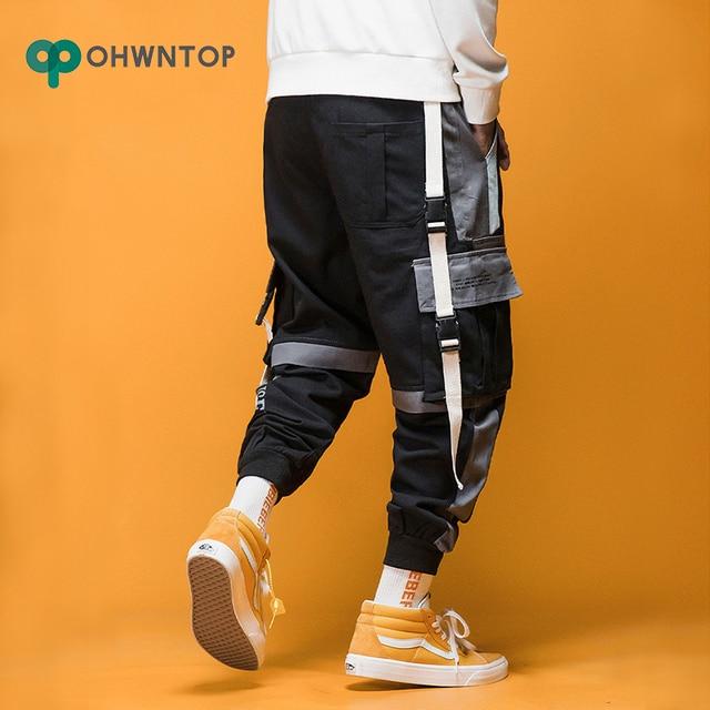 2020 Spring Mens Harem Pants Streetwear Jogger Ribbons Trousers Men Hip Hop Sweatpants Trousers Letter Printed Cargo Harem Pants 5