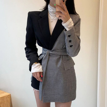 Autumn Winter New Vintage Full Sleeve Plaid Stitching Irregular Straps Women Blazer Korea Style Loose Trend Coat