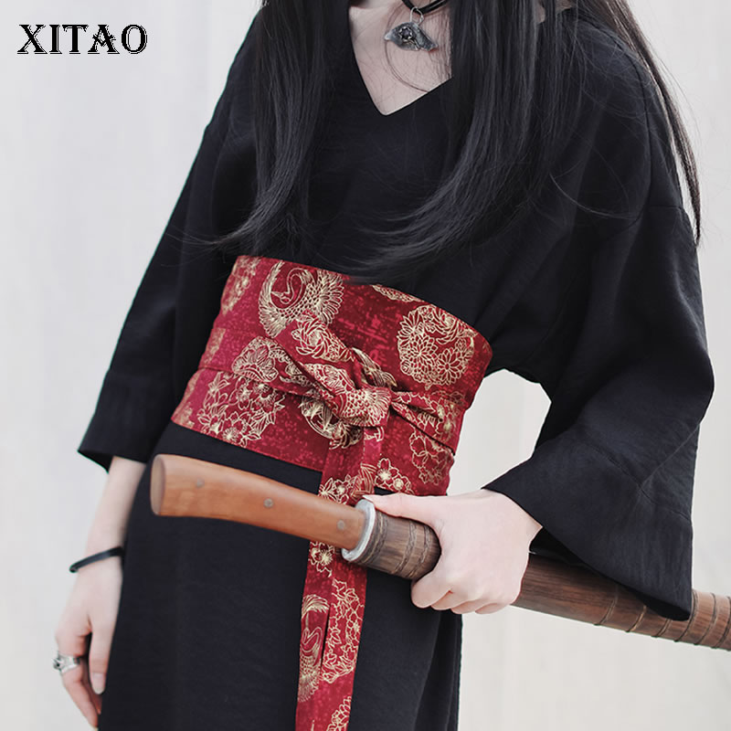 XITAO Niche Design Fashion Print Cummerbunds Bandage Bow Match All Women Clothes 2020 Spring Personality Cummerbunds  ZLL5018