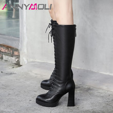 ANNYMOLI Winter Knee High Boots Women Natural Genuine Leather Thick Heel Tall Boots Zipper Super High Heel Shoes Lady Autumn 39 цена
