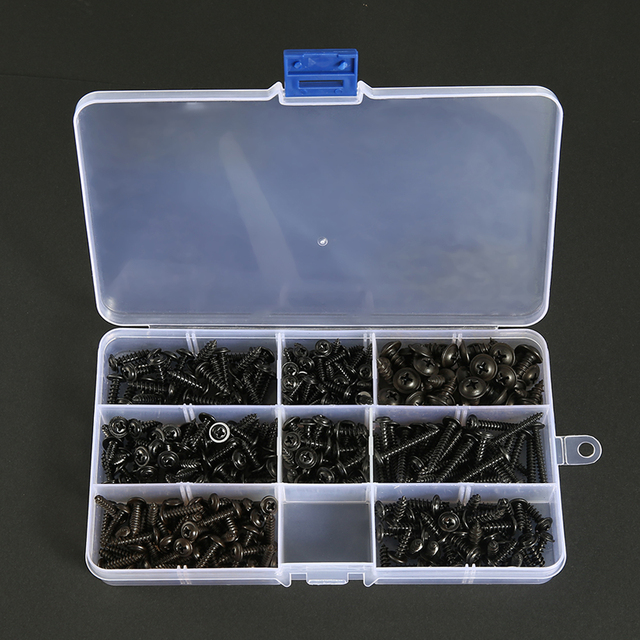 215/340/500pcs Pan Head Tapping Screw Cross Head M3/M4/M4.8 Self Tapping Screw Set Assortment Kit Black Furniture Carbon Steel 6