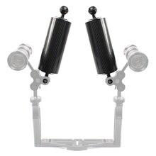 Bandeja de extensão de fibra carbono braço flutuador flutuabilidade braço aquático dupla bola slr câmera mergulho para gopro yi eken para câmera ação osmo