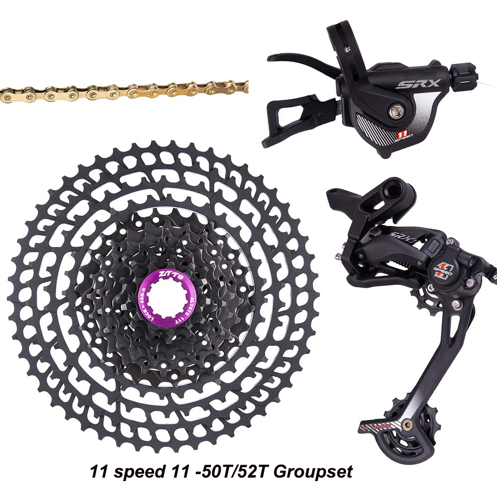 Bicycle <font><b>11</b></font> Speed Groupset MTB 11s <font><b>11</b></font>-50T/52T <font><b>Cassette</b></font> Shifte Rear Derailleur 11s Gold Chain 32/<font><b>34</b></font>/36T Chainring For SRAM Shimano image