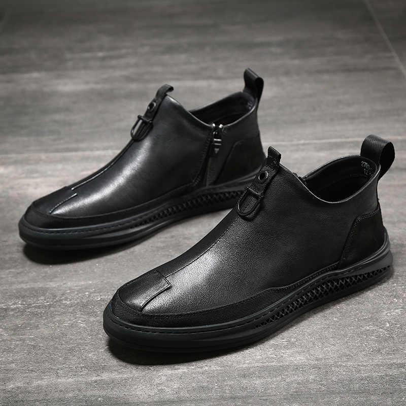 2019 Sonbahar Erken Kış Ayakkabı Erkekler Hakiki Deri Chelsea Çizmeler Moda Erkek Ayakkabı Inek Deri Erkek yarım çizmeler Siyah A1120