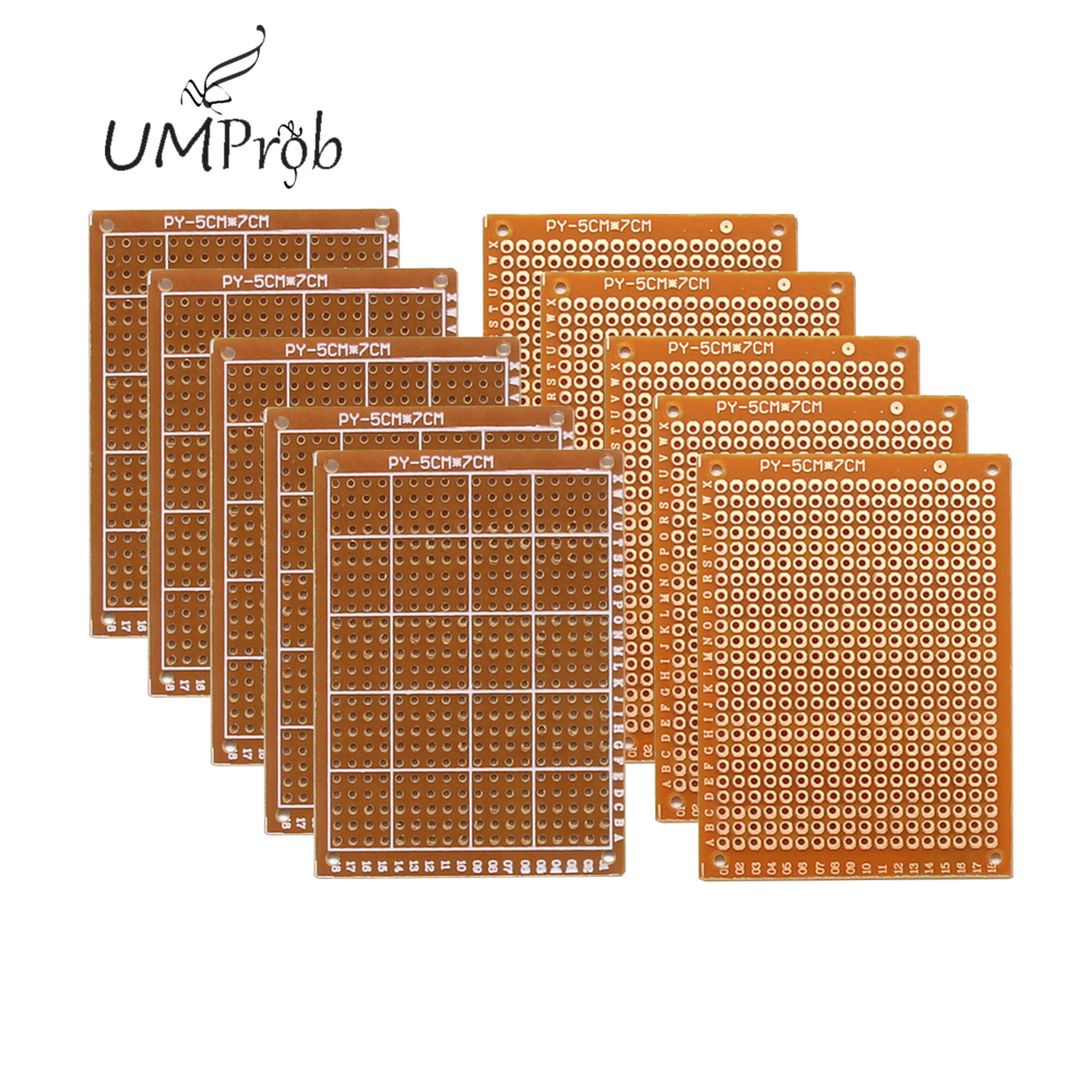 10Pcs  Prototype Paper Copper PCB Universal Experiment Matrix Circuit Board 5x7CM Diy Kit