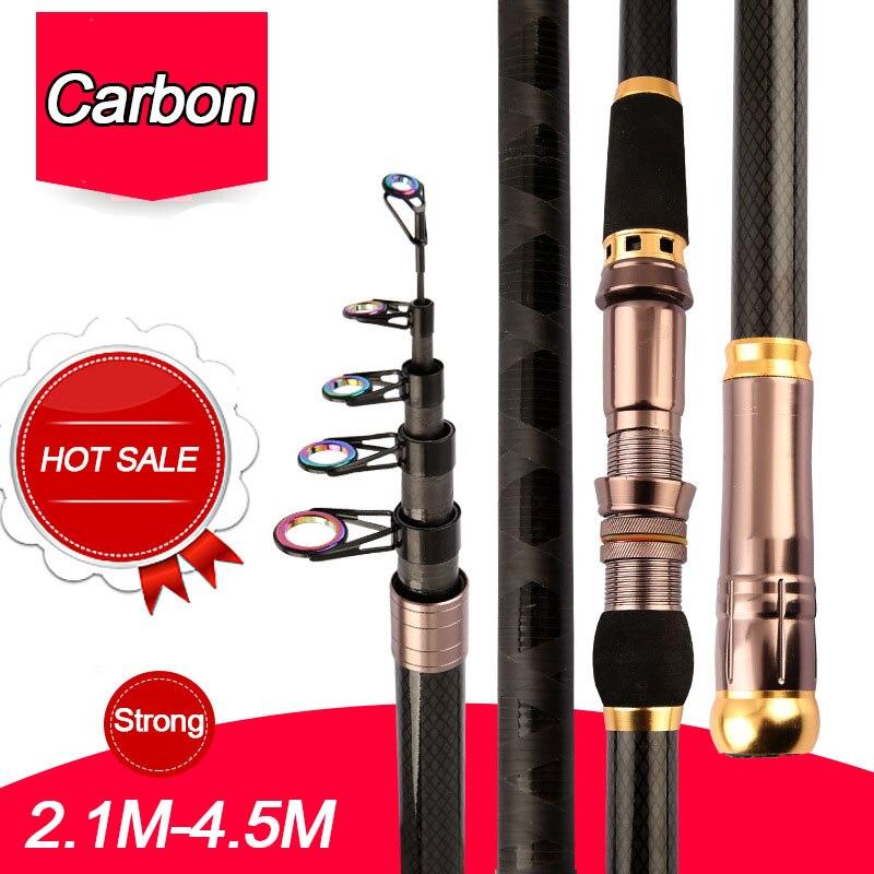 2 1 m 4 5 m de fibra de carbono superhard vara de pesca telescopica forte