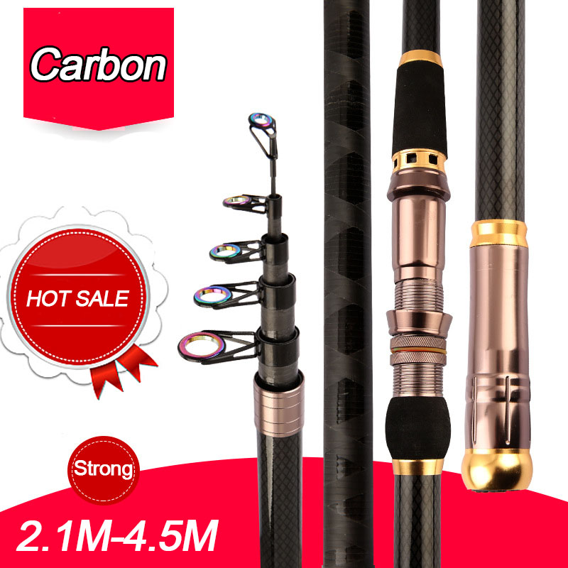 2.1M-4.5M Carbon Fiber superhard Telescopic Fishing Rod strong Portable Spinning Fishing Rod Travel Sea Boat Rock Fishing Rod image