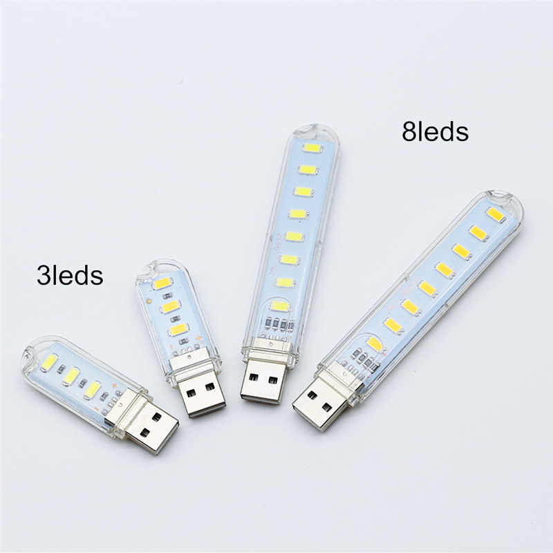 Draagbare Mini USB licht 3 LED/8 LED chips Nachtlampje Tafellamp Warm Wit LED Lamp Voor Power bank