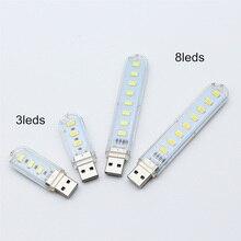 Portable Mini USB light 3 LED/8 LED chips Night Light Table Lamp Warm White LED Lamp For Power bank