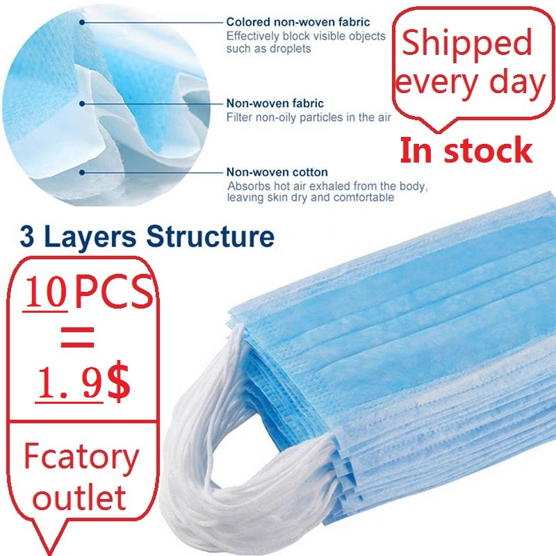 In Stock 20pcs/50pcs/ Anti Virus Mask Disposable 3 Layers Filter Dustproof Mouth Face Masks Protective Factory Outlet Wholesale