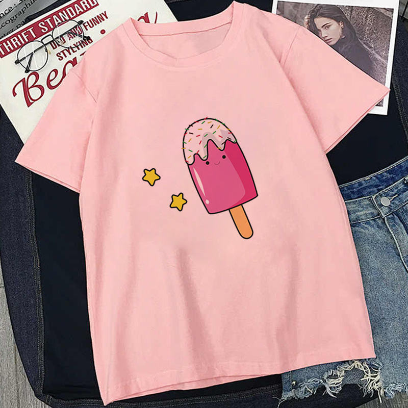 2020 Various Popsicle Picture Print T-shirt Women Trend Simple Casual Vogue Style Tshirt Summer Short Sleev Pink Tops T Shirt