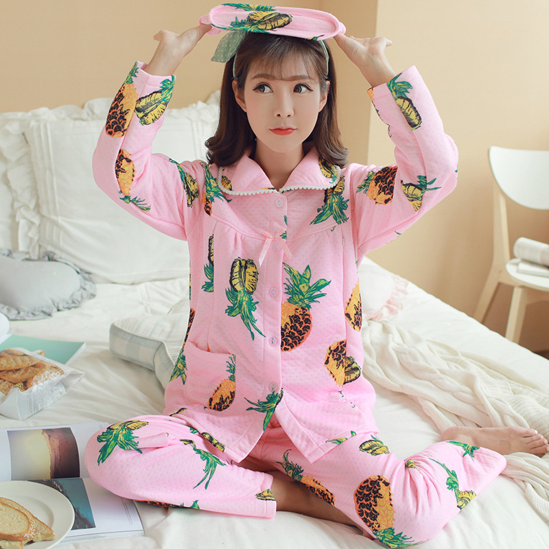 Confinement Clothing Dissection Thick Flannel Pregnant Women Pajamas Winter Padded Air Layer Tracksuit Pajamas Suit