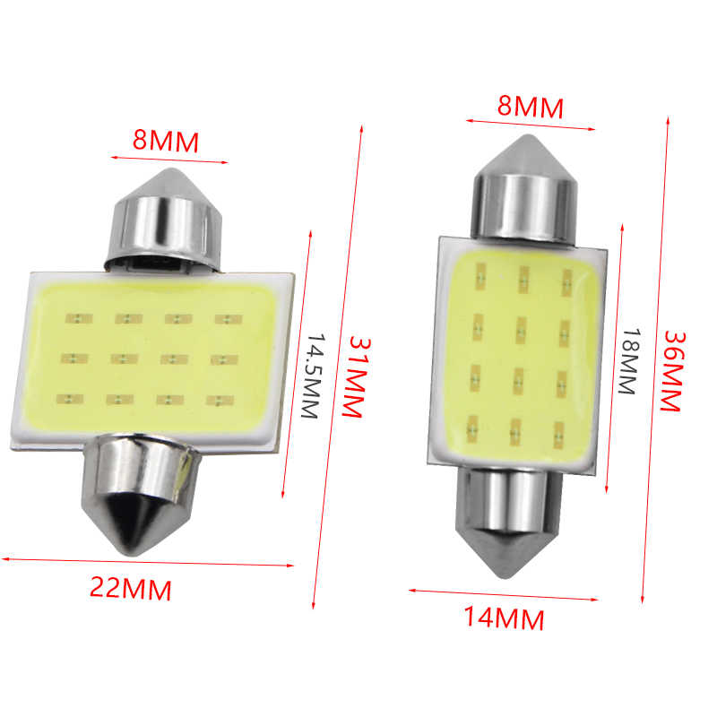 31mm 36mm 39mm 41mm FESTOON 12 Chips COB LED Bulb C5W C10W Car Dome Light Auto Interior Map Roof Reading Lamp DC12V Car Styling