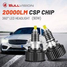 BULLVISION Turbo Led H7 H11 araba ampülleri 12V 20000LM süper Hir2 9012 H1 H8 H9 farlar otomatik 9005 9006 Hb3 hb4 far 360 yan