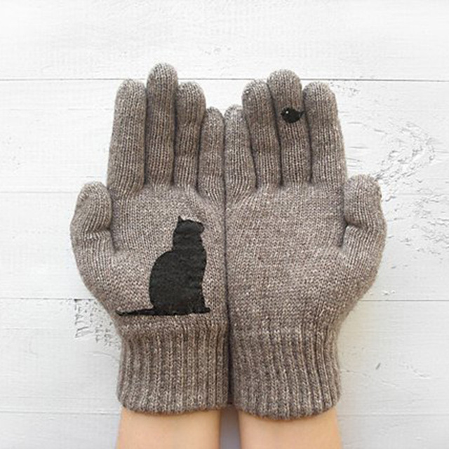 Cartoon Cat Knitted Gloves Women Winter Warm Outdoor Riding Thicken Printed Cold Proof Imitation Cashmere Pure Color Soft Gloves 2