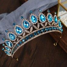 Diadema barroca de cristal azul cielo para mujer, accesorios para el cabello de novia, Vintage, Diamante en forma de lágrima, Reina, Tiara y corona para fiesta de boda