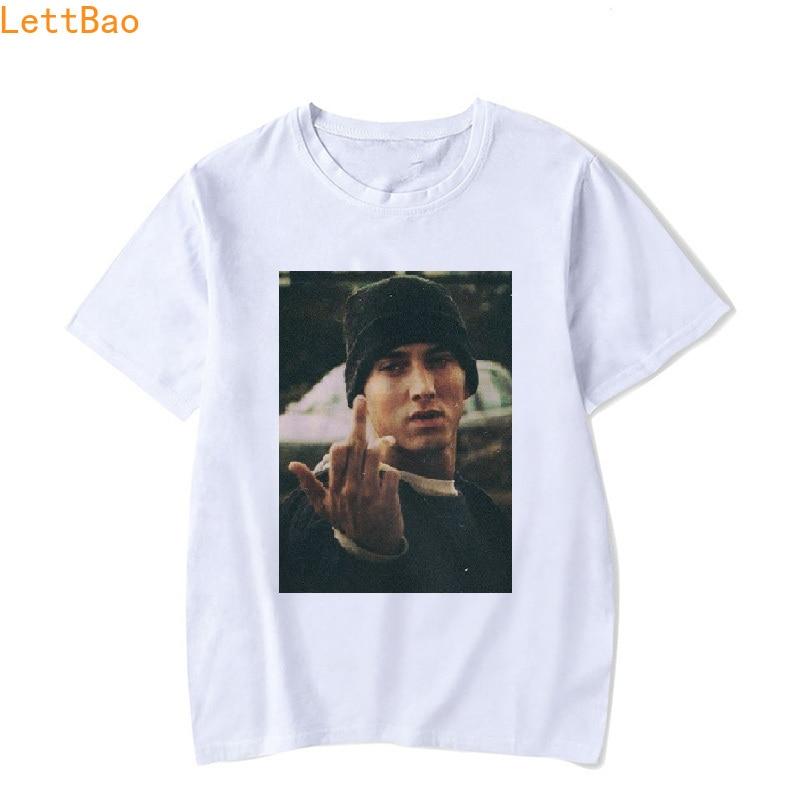 Eminem Tshirt Men Unisex White 100% Cotton T Shirt Hiphop Funny T Shirts Punk Style Tops Camisa Masculina Hip Hop Rock T-shirt