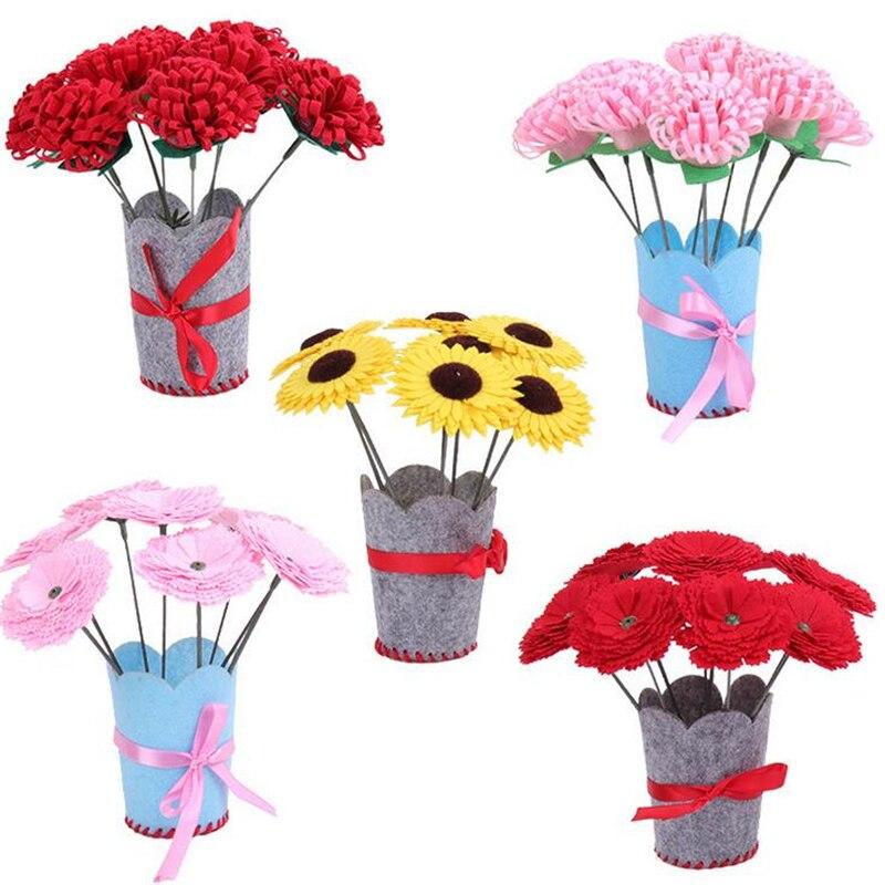 Children DIY Handmade Crafts Flower Pot Potted Plant Toys Non-woven Kindergarten Manual Montessori Toys Decorative Bouquet