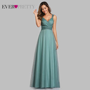 Image 2 - Cute Pink Bridesmaid Dresses For Women Ever Pretty EP07905PK A Line V Neck Tulle Sparkle Wedding Guest Dresses Sukienki Weselne