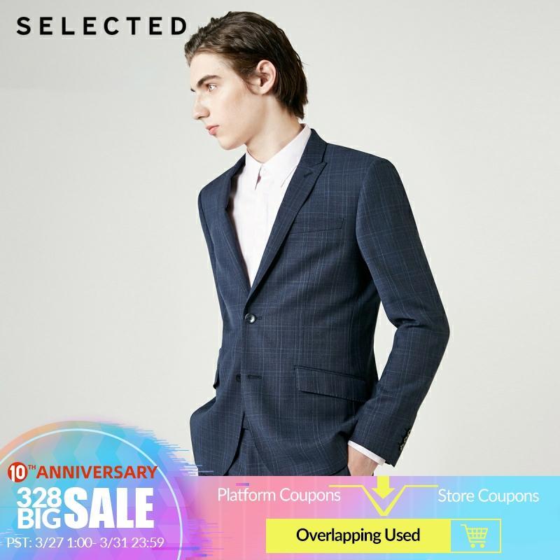 SELECTED Men's Slim Fit Wool Blazer Woolen Plaid  Jacket T|41915Y503