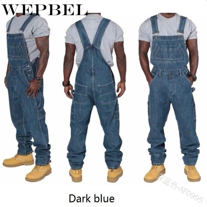Брюки WEPBEL мужские джинсовые, Длинные Комбинезоны из денима, прямые джинсовые брюки в стиле хип-хоп, уличная одежда