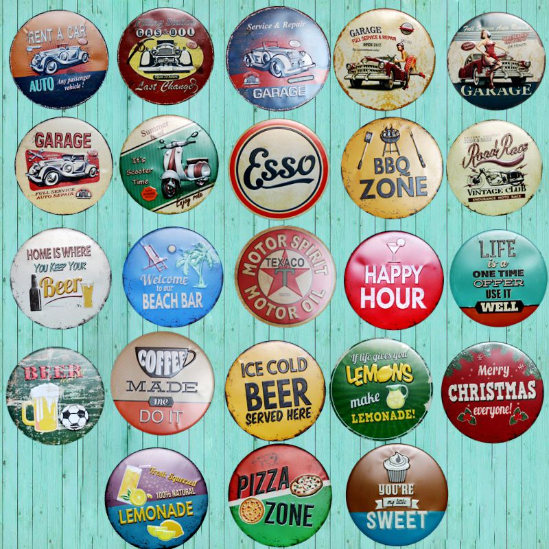 New Round Sign Vintage Tin Sign Circular Plate Plaques BBQ Garage Indoor Decor Motor Oil Metal Board Painting Art Hanging Crafts