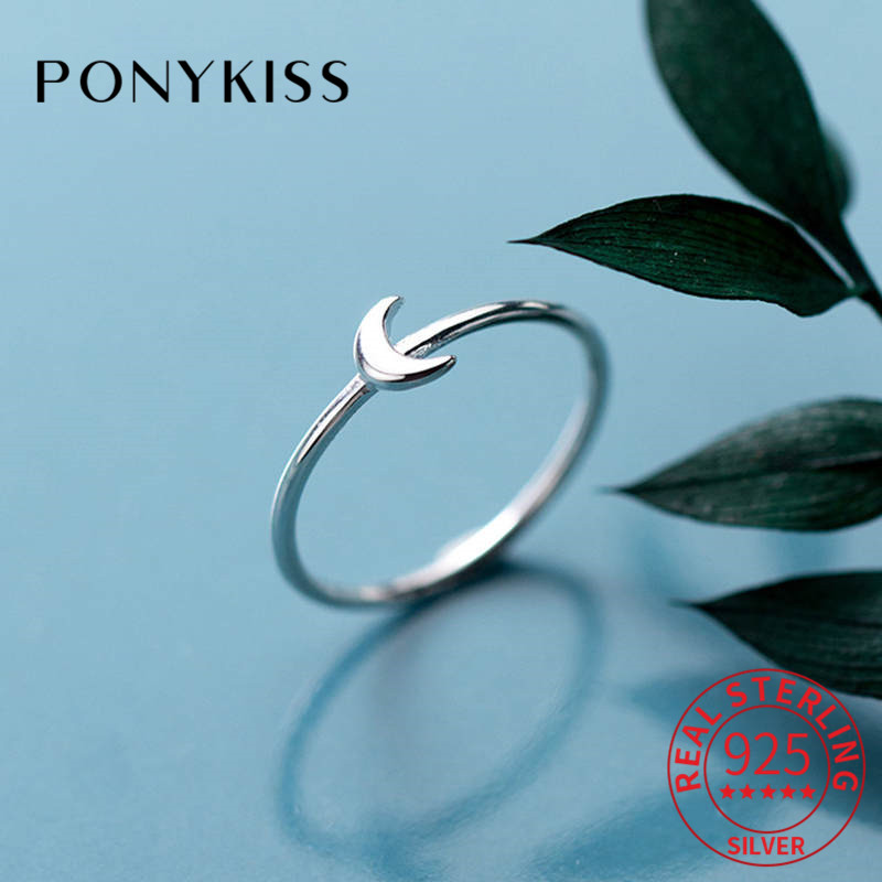 PONYKISS Real 925 Sterling Silver Moon Trendy Ring Women Daily Delicate Lovely Ring Accessory Girl Birthday Party Chic Cute Gift