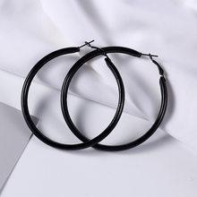 Moda sexy de metal grosso preto círculo hoop brincos mulher punk redondo feminino declaração orelha piercing jóias acessórios festa