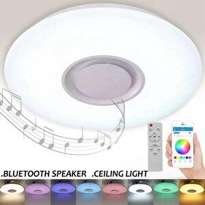 Image 2 - Altavoz inalámbrico LED con Bluetooth y Control remoto para dormitorio, lámpara de Panel de luz LED RGB de techo regulable con aplicación y mando a distancia
