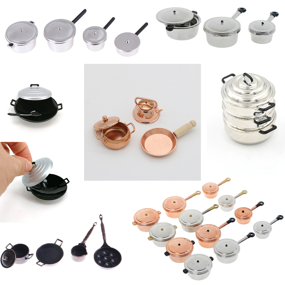 Simulation 1/12 Scale Dollhouse Miniature Frying Pan Cooking Pot Kettle Cookware Cooking Micro Steamer Kitchen Utensils Toy