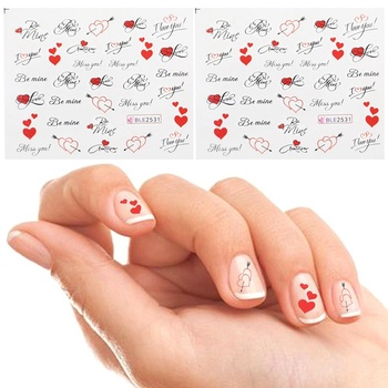 1/2/5 Sheets DIY Nail Art Sticker Pretty Letter Miss You Printing Love Heart Nail Decals Water Transfer Sticker Nail Art Tips image