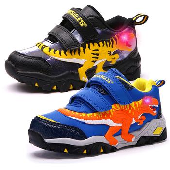 Dinskulls chłopcy buty LED tenis sport dzieci zapalają trampki dinozaur świecące dzieci trenerzy bieganie wiosna chłopiec obuwie tanie i dobre opinie DINOSKULLS 13-24m 25-36m 3-6y 7-12y CN (pochodzenie) Wiosna i jesień Mężczyzna Dobrze pasuje do rozmiaru wybierz swój normalny rozmiar