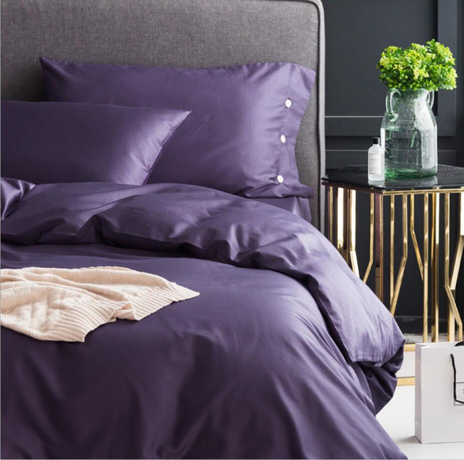 Purple <font><b>Egyptian</b></font> <font><b>cotton</b></font> Bedclothes <font><b>Bedding</b></font> <font><b>sets</b></font> King Queen size 4Pcs Solid bedcover Simple <font><b>Duvet</b></font> cover Bed sheet Pillowcases image