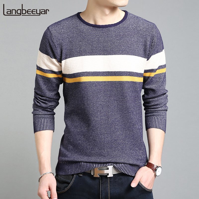 2019 New Fashion Brand Sweater For Mens Pullovers O-Neck Slim Fit Jumpers Knit Striped Autumn Korean Style Casual Men Clothes