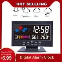 Cyfrowy budzik zegar podświetlenie lcd wielu stół wielofunkcyjny zegar czasu/temperatury/wilgotności/pogoda alarm z wyświetlaczem zegar do dekoracji domu