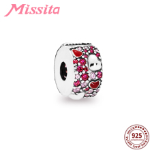 MISSITA Red Crystal Positioning Buckle Charm fit Pandora Bracelets DIY Jewelry Women Bangle Beads Clip Accessories