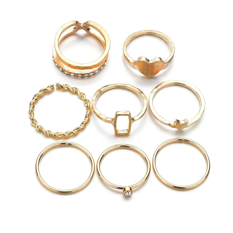 40 Styles Vintage Female Rings Gold Color Star Heart Ring Set Women Joint Ring Wedding Party Jewelry Accessories 2