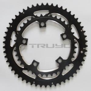 "Image 5 - TRUYOU yol bisiklet zinciri tekerlek BCD 110 53T 39T çift disk aynakol katlanır bisiklet aynakol alüminyum çift hızlı CNC 3/32"""