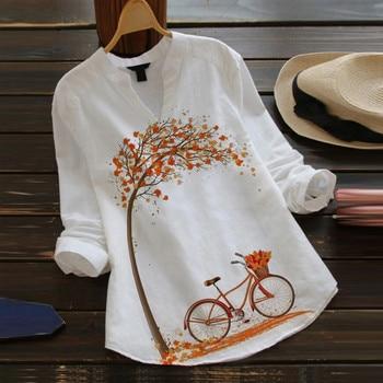 2021 Women Women Casual Flower Print Long Sleeve V-Neck Blouse Button Shirt Top Blouse толстовка 1