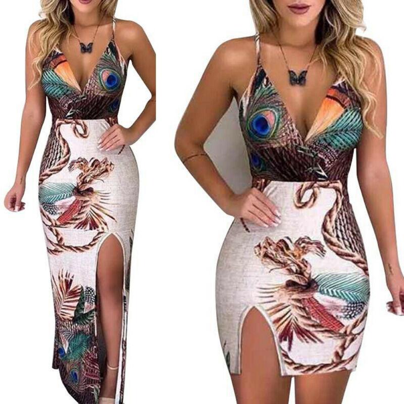 Summer Elegant Women Sling V Neck Peacock Feather Print Split Pencil Dress Female Bodycon Mini Short Vestidos Beach Sundress