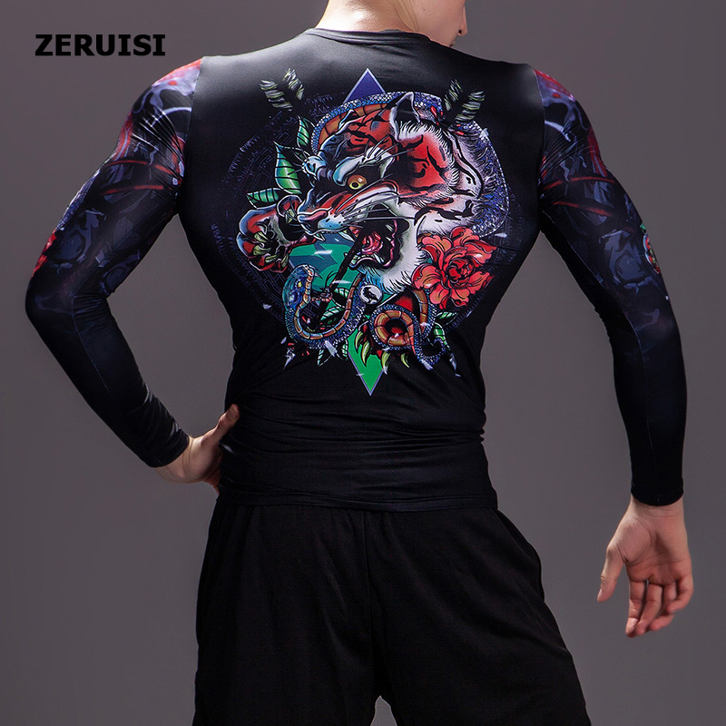 Image 4 - New Arrival 3D Printed T shirts Men Compression Shirt Costume Long Sleeve Tops For Male Fitness Hip hop Clothing-in T-Shirts from Men's Clothing