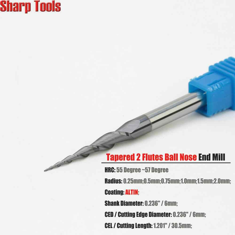 Tapered Ball Nose End Mill 1//8 Shank Tungsten Carbide Router Woodwork Carving