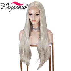 Kryssma Blonde Perücke 13x6 Synthetische Spitze Front Perücken Lange Gerade Synthetische Spitze Front Perücken Für Frauen Cosplay Perücke wärme Sichere Faser