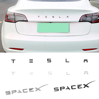 3D ABS Trunk Sticker Letter Emblem Styling for Tesla Logo ModelS ModelX Model 3 Roadster SpaceX Badge Auto Accessories 1